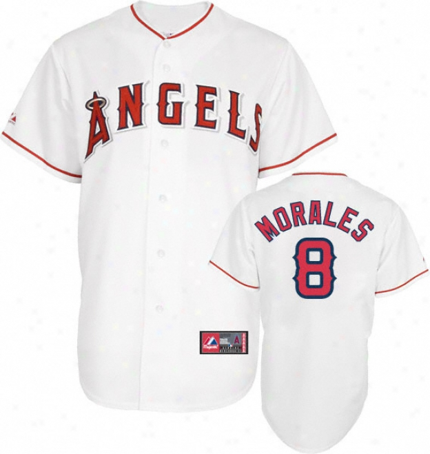 Kendrys Morales Jersey: Adult Majestic Home White Replica #8 Los Angeles Angels Of Anaheim Jersey