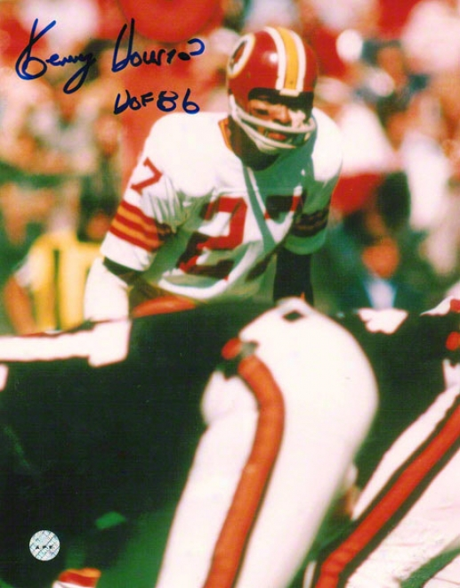 Kenny Houston Washington Redskins Autographed 8x10 Photo Ready For The Snap Inscribed Hof 86