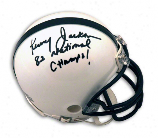 Kenny Jackson Penn State Nittany Lions Autographed Mini Helmet Inscribed 82 National Champs