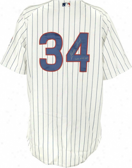 Kerry Wood Chicago Cubs 2005 Game Used Pinstripe Autographed Majestic Jersey