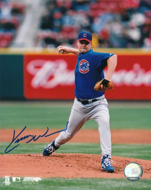 Kerry Wood Cuicago Cubs - Blue Jersey - 8x10 Autographed Photograph