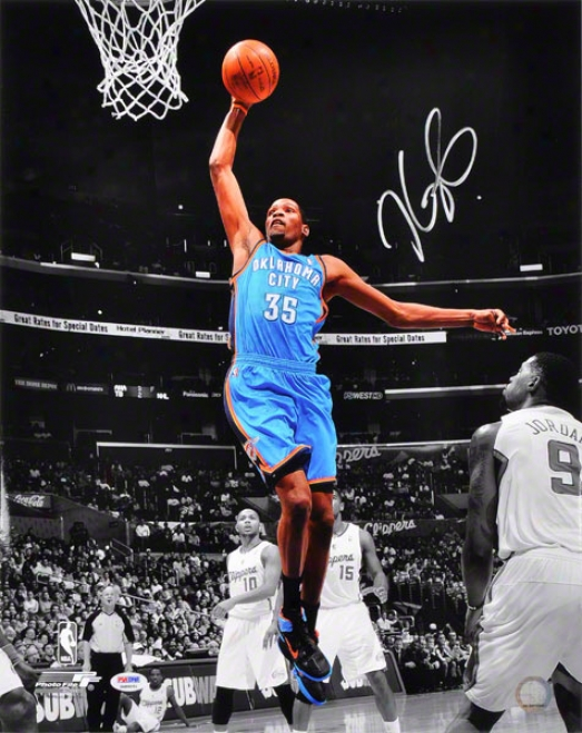 Kevin Durant Autographed 16x20 Photograph  Details: Oklahoma City Thunde,r Dunking, Vs Los Angeles Clippers