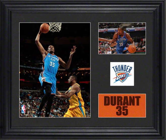 Kevin Durant Framed 2- Photograph Collage  Details: Oklahoma City Thunfer, Team Logo