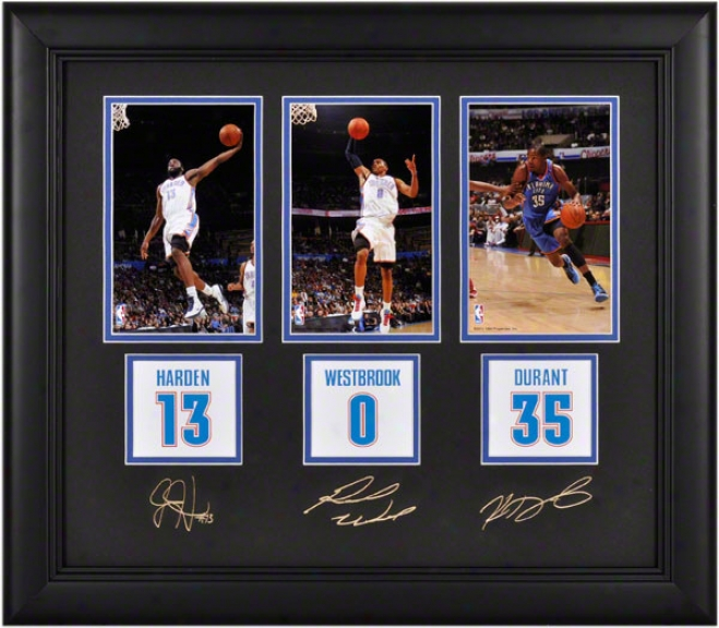 Kevin Durant, James Harden And Russell Westbrook Framed Photographs  Details: 4x6, Oklahoma City Thunder, Facsimile Signatures, Jersey Numbre Replica Miniatures