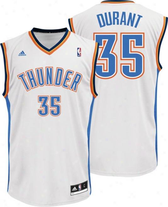 Kevin Durant Jersey: Adidas Revo1ution 30 White Replica #35 Oklahoma City Thunder Jersey