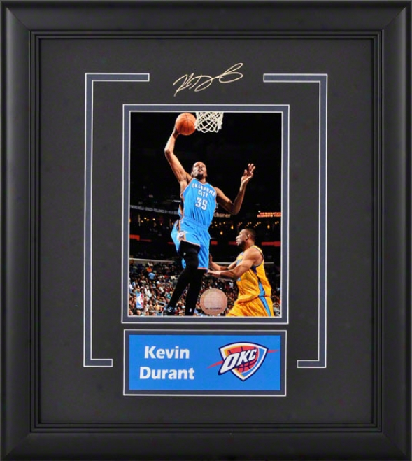 Kevin Durant Oklahoma City Thunder Framed 6d8 Photograph With Facsimile Signatire And Plae