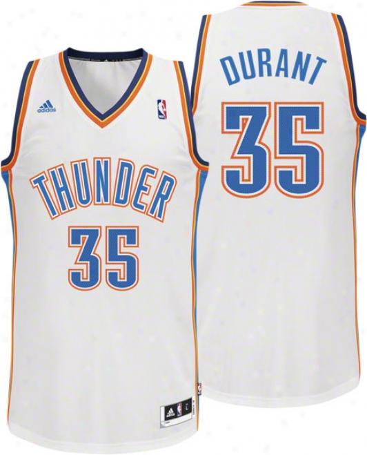 Kevin Dirant White Adidas Revolution 30 Swingman Okllahoma City Thunder Jersey