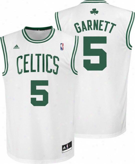 Kevin Garnett Jersey: Adidas Revolution 30 White Replica #5 Boston Celtics Jersey