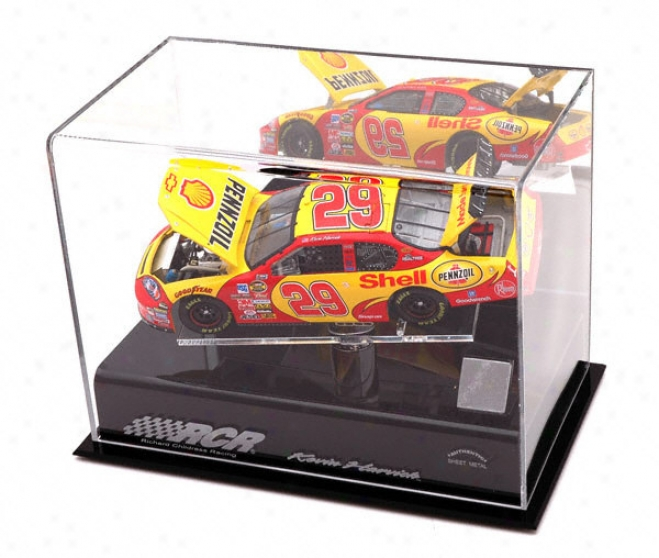 Kevin Harvick 1/24th Die Cast Display Case With Platform And Race Used Metal