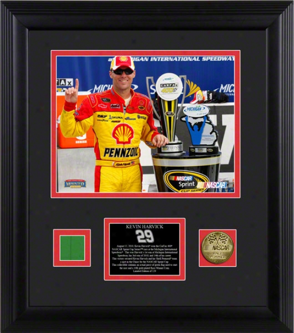 Kevin Harvick Framed 8x10 Photograph  Details: 2010 Michigan Race Winner, With Gold Coin And Flag - Limited Impression Of 129