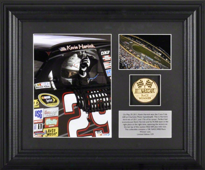 Kevin Harvick Framed Photograph  Details: Coca-cola 600 At Charlotte Motor Speedway, Gold Coin, Dish, Limited Edition Of 329