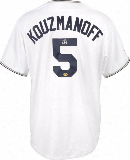 Kevin Kouzmanoff Autographed Jersey  Details: San Diego Padres, White Replica