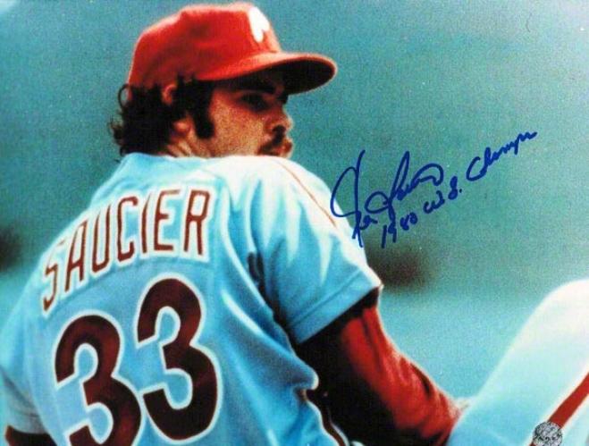 Kevin Saucier Autographed Philadelphia Phillies 8x10 Photo Inscribed &quot1980 Ws Champs&quot