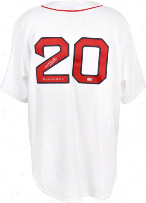 Kevin Yokilis Autographed Jersey  Details: Boston Red Sox, White Majestic Jerdey, With Inscrition &quot04, 07 Ws Champs&quot
