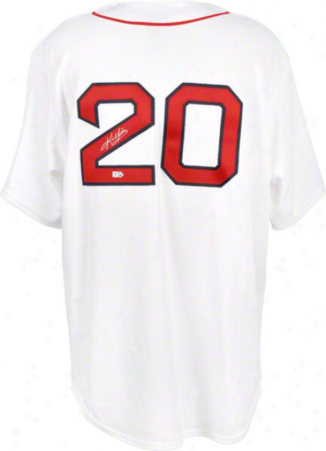 Kevin Youkilis Boston Red Sox Autographed hWite Majestic Replica Jersey