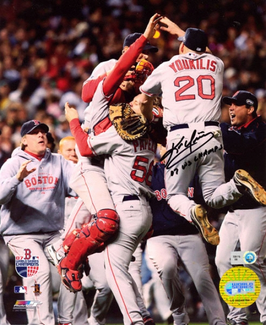 Kevin Youkilis Boston Red Sox - Celebration Photo - Autographed 8x10 Photograph With 2007 World Series Champs Inscription