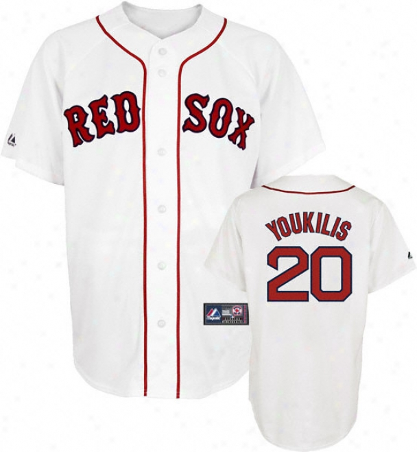 Kevin Youkilis Jersey: Adult Majestic Home White Replica #20 Boston Red Sox Jersey