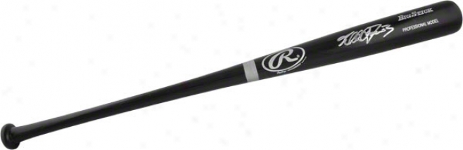 Khalil Greene Autographed Bat  Details: Black Big Stick Bat