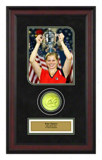 Kim Clijsters 2009 Us Open Championships Framed Autographed Tennis Ball With Photo