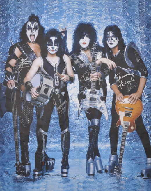 Kiss - With Guitae - Autographed 40x60 Canvas With 4 Signatures