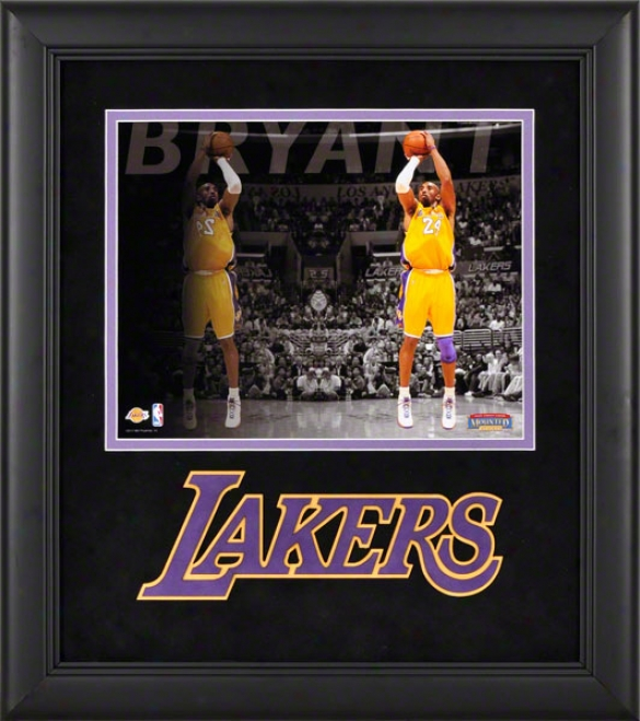 Kobe Bryant Framed Photograph  Details: 8x10, Reflections, Los Angeles Lakers Team Logo