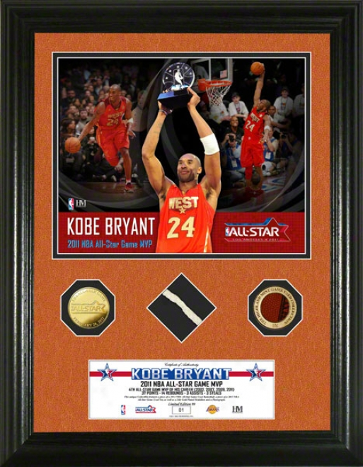 Kobe Bryant Los Angeles Lakers 2011 Nba Whole Fate Game Used 24kt Gold Coin Photo Mint