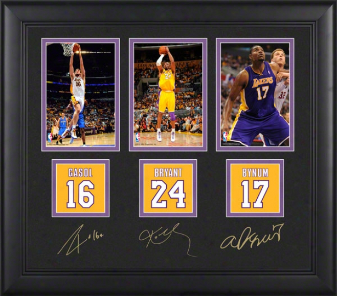 Kobe Bryant, Pau Gasol, And Andrew Bynum 4x6 Photograph  Detalis: Los Angeles Lakers, With Facsimile Signatures, Jersey Number Replica Miniatures