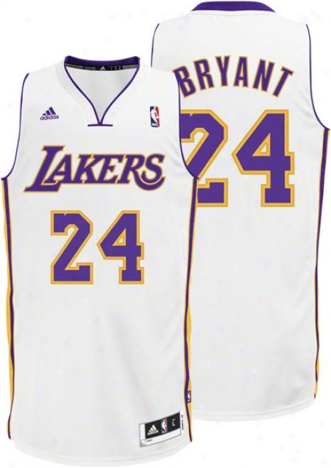 Kobe Bryant White Adidas Revolution 30 Swingman Los Angeles Lakers Jersey