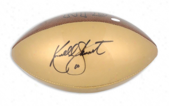 Kordell Stewart Autographed Football  Details: Gold Panel Football
