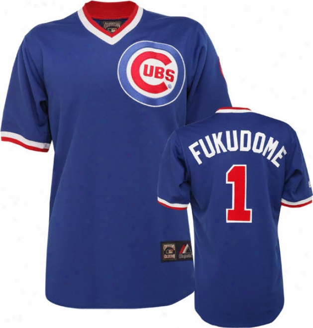 Kosuke Fukudome Blue Majestic Cooperstown Replica Chicago Cubs Jersey