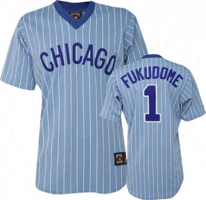 Kosuke Fukudome Blue Majesric Light Pinstripe Cooperstown Replica Chicago Cubs Jersey