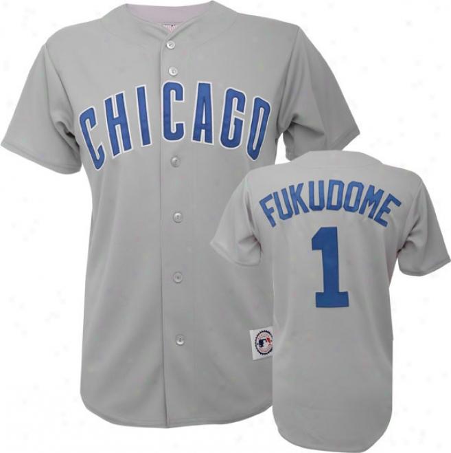 Kosuke Fukudome Grey Majestic Mlb Road Replica Chicago Cubs Jersey