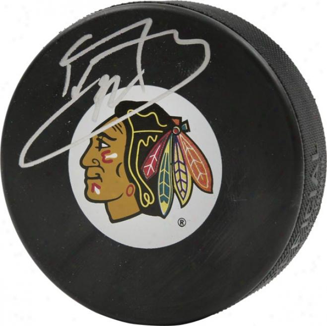 Kristopher Versteeg Autographed Chicago Blackhawks Logo Puck