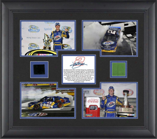 Kurr Busch - 2010 Charlotte Sweep - Framed 4x5 Photographs With Race Used Tire And Flag - Limited Edition Of 202