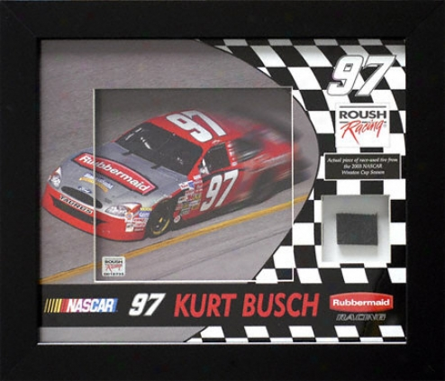 Kurt Busch Framed Photo With Race Used Tire
