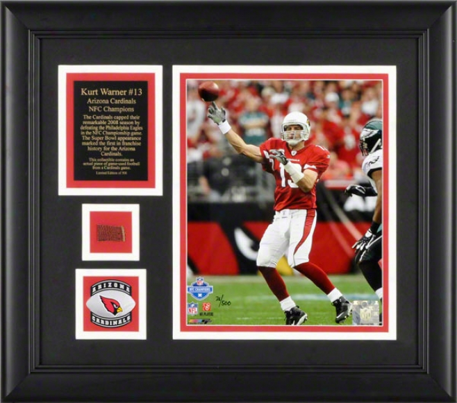 Kurt Warner Arizona Cardinals Framed 8x10 Photogrwph With Game Used Football/medallion And Plate