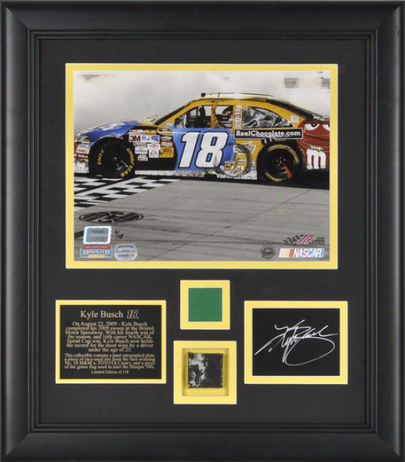 Kyle Busch 2009 Bristol �sharpie 500 Framed 8x10 Photograph With Green Flag, Autogarph Plate And Race Winning Tire - Le Of 118