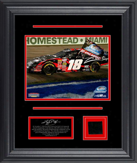 Kyle Busch 2009 Nascar Nationwide Championship Framed 6x8 Photograph With Race Used Tire - Le Of 318