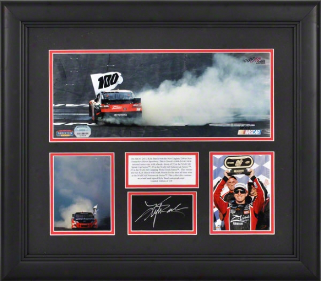 Kyle Busch Framed 3-photo Collage  Details: Nascar 100th Course Wins, With Autographed Card