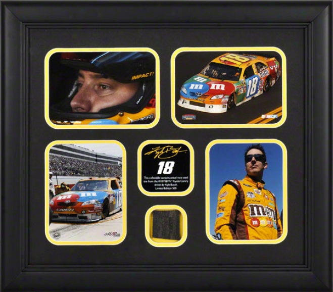 Kyle Busch Framed 4-photograph Collage  Details: 2011 With Race Used Tire