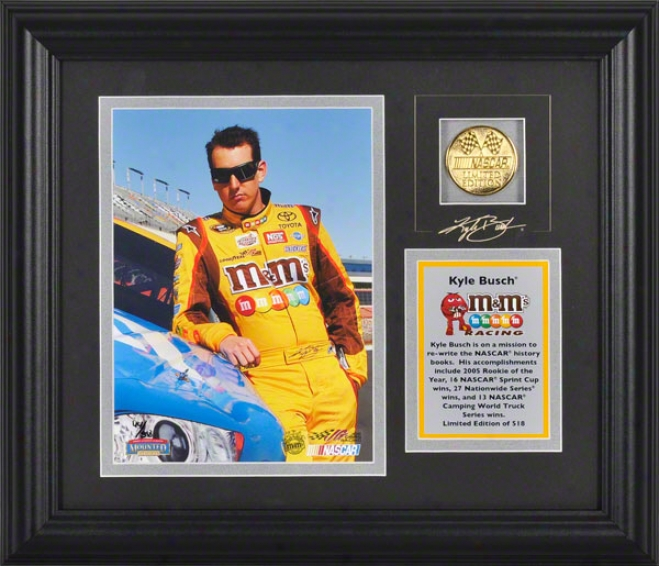 Kyle Busch Framed 6x8 Photograph With Facsimile Stamp, Engraved Plate And Gold Coin - Le Of 518