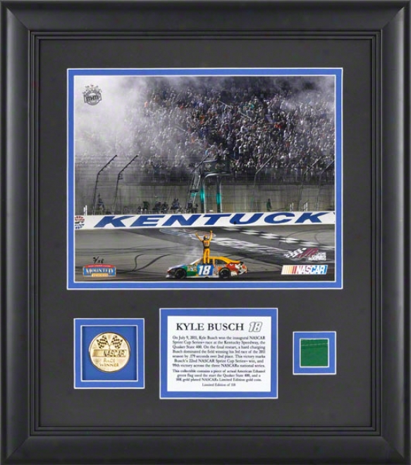 Kyle Busch Framed 8x10 Phottograph  Details: 2011 Quaker State 400 Kentucky Speedway Inaugural Rac, With Gold Coin And Flag - Limited Edition Of 118