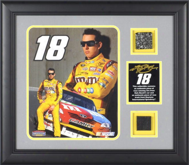 Kyle Busch Framed 8x10 Photograph With Progeny Used Tire, Plate And Dautona International Speedway Track