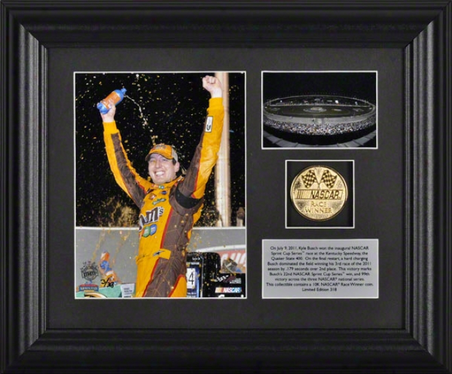 Kyle Busch Framed Photograph  Details: Quaker State 400 At Kentucky Speedway Gold Coin, Plate, Limited Edition Of 318