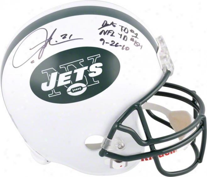 Ladainian Tomlinson Autographed Helmet  Details: New York Jets, 2 Inscriptions, Riddell Replica Helmet