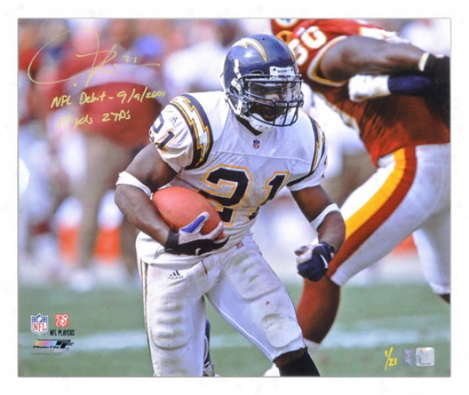 Ladainian Tomlinson San Diego Chargers Autographed 20x24 Photograph With Nfl Debut 9/9/2001 113 Yards 2 Touchdowns Inscriptions
