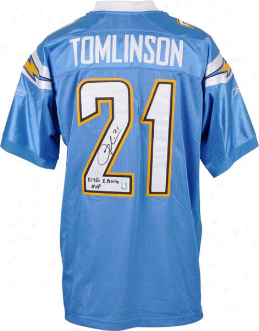 Ladainian Tomlinson San Diego Chargers Autographed Authentic Jersey With 31 Tds, 2 Passing And Mvp Inscriptions