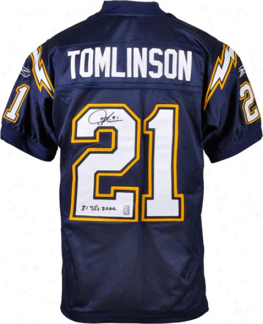 Ladainian Tomlinson San Diego Chargers Autographed Authentic Reebok Jersey With 31 Touchdiwns 2006 Inscription
