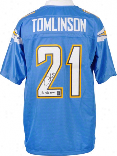 Ladainian Tomlinson San Dieho Chargers Autographed Reebok Eqt Jersey With 31 Tds 2006 Inscription