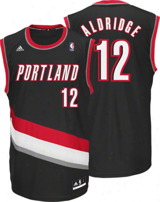 Lamarcus Aldridge Jersey: Adifas Revolution 30 Black Replica #12 Portland Trail Blazers Jersey